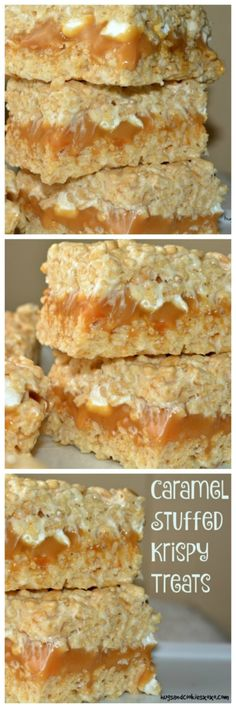 Caramel Stuffed Krispy Treats - Hugs and Cookies XOXO Do you decide on canned foods or dry food items? What model? There are numerous various makes, all st Rice Crispy Treats, Krispie Treats, Yummy Treats, Sweet Treats, Rice Crispy Bars, 13 Desserts, Delicious Desserts, Carmel Desserts, Health Desserts