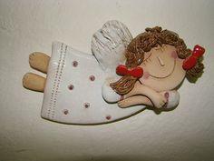 Andělíček / Zboží prodejce Claylady | Fler.cz Christmas Clay, Christmas Crafts, Christmas Ornaments, Paper Clay, Clay Art, Ceramic Clay, Ceramic Pottery, Pasta Fimo, Clay Angel