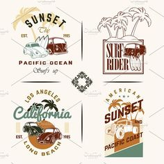 Set of Vintage Surfing Graphics by ART69M on @creativemarket