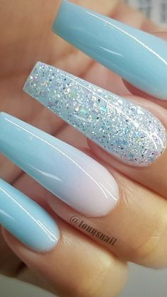 Cute Pretty mismatched blue nail art design part 26 - Colorful nail art Sparkly Acrylic Nails, Blue Glitter Nails, Long Square Acrylic Nails, Acrylic Nails Coffin Short, Coffin Nails, Winter Acrylic Nails, Stylish Nails, Trendy Nails, Blue And Silver Nails