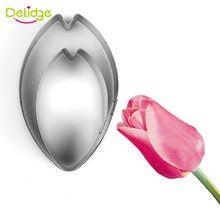Delidge 2ks / sada Tulip Flower Petal Cookie Cutter Cake zdobení nástroje fondant Cupcake Mold sušenky Cutter Pečení Cookie Tools (Čína (pevninská část))