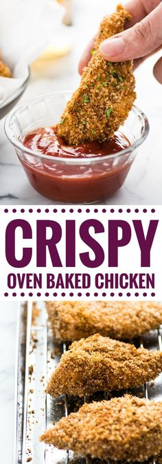 These Crispy Oven Baked Chicken Tenders seasoned with garlic, paprika and chili powder are made without the excess oil, making them a healthy meal option!