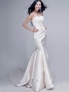 Lace Bodice Sweetheart Mermaid Wedding Dress