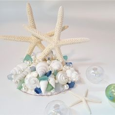 Artisan handmade beach wedding cake topper made in your wedding colors with REAL starfish and seashells, plus beautiful sea glass. Gorgeous on your cake and it makes a beautiful wedding keepsake! Starfish Wedding Cake, Starfish Cake, Nautical Wedding Cakes, Seashell Cake, Sea Glass Wedding, Beach Wedding Cake Toppers, Beach Wedding Decorations, Sea Glass Colors, Wedding Colors