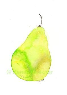 A Pear watercolor fruit giclee fine art print by karenfaulknerart, $15.00