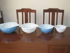 SET OF 4 Vintage Retro Pyrex Snowflake Blue Cinderella Nesting Bowls 440 Series   eBay