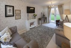 Barratt Homes - LINCOLN at Glenfield Park, Kirby Road, Glenfield, Leicester Interior designed living room with calming minky grey linens accented by a splash of grey, cream and muted lemons. Cream Living Rooms, Living Room Grey, Home Living Room, Living Room Designs, Cottage Living, Cosy Lounge, Lounge Decor, Small Lounge, Leicester