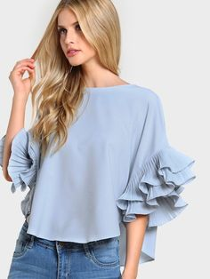 Cheap women blouses, Buy Quality high low blouse directly from China woman blouse summer Suppliers: SHEIN Pleated Ruffle Sleeve Dolphin Hem Top Women Blouses Summer 2017 Round Neck Half Sleeve Casual High Low Blouse Half Sleeves, Types Of Sleeves, Sleeve Types, Ruffle Sleeve, Ruffle Top, Flutter Sleeve, Ruffles, Ruffle Fabric, Ruffle Collar