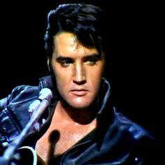 Elvis live june 27 1968 , sit down show   6-p-m and 8 p-m shows Black leather  suit