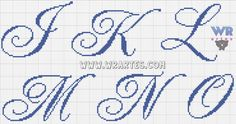 Cross Stitch Letters, Cross Stitch Borders, Cross Stitch Designs, Cross Stitching, Cross Stitch Embroidery, Embroidery Alphabet, Embroidery Monogram, Embroidery Fonts, Plastic Canvas Letters