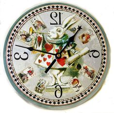 Our White Rabbit Card Clock features the White Rabbit, Alice, Cheshire Cat, the Mad Hatter. Queen of Hearts, the Caterpillar. The vintage