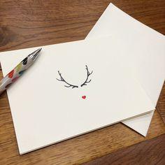 Reindeer Heart Nose Minimalist Christmas Card Single