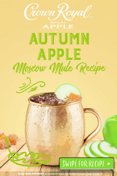 Crown Royal Regal Apple makes this Moscow Mule feel like a trip to the apple orchard (without driving all the way to the country). DIRECTIONS: combine 1 1⁄2 oz Crown Royal Regal Apple and 3 oz ginger beer in a mug or highball filled with ice. Add 1⁄4 oz lime juice and stir. Garnish with an apple slice.
