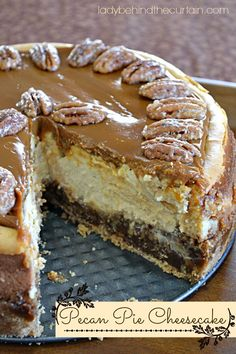 Pecan Pie Cheesecake - Lady Behind The Curtain. Main ingredients include vanilla wafers, pecan pie filling, cream cheese, and dulce de leche topping. Pecan Pie Cheesecake, Cheesecake Recipes, Dessert Recipes, Dessert Healthy, Pie Dessert, Dessert Table, Dinner Recipes, Food Cakes, Cupcake Cakes