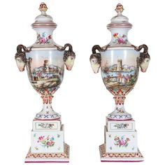 Hand-Painted Italian Urns, Turn-of-the-Century | From a unique collection of…