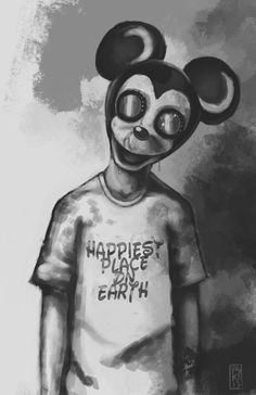 """Happiest Place on Earth"" - Mickey. A well-done & creepy Mickey Mouse Art Work. Abandoned by Disney. Creepy Disney, Disney Horror, Que Horror, Horror Art, Creepy Drawings, Dark Art Drawings, Creepy Art, Scary, Disney Creepypasta"
