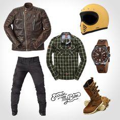 Autumn motard looks Motorcycle Equipment, Retro Motorcycle, Motorcycle Style, Motorcycle Outfit, Motorcycle Helmets, Bobber Style, Cafe Racer Style, Bike Style, Style Moto