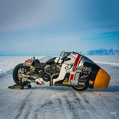 After a stint in the Sultans of Sprint race series the Appaloosa nitrous-fueled Indian Scout has been reconfigured for the Baikal Mile ice sprints in Siberia. Womens Motorcycle Helmets, Motorcycle Art, Racing Motorcycles, Vintage Motorcycles, Indian Scout, Drag Bike, Cafe Bike, Racing Events, Ducati Monster