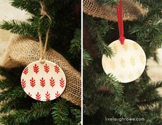 Holly Berry and Florentine Gold Stenciled Mini Plate Ornaments with livelaughrowe.com..Plates from Hobby Lobby....
