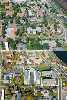 College Avenue Honors College Aerial Shots Top: Before, Bottom: After
