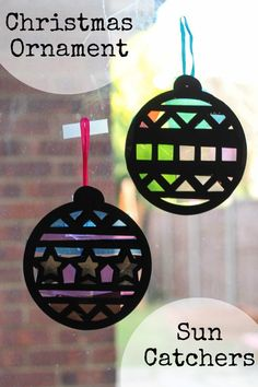 Christmas Ornament Sun Catchers easy and fun craft for kids