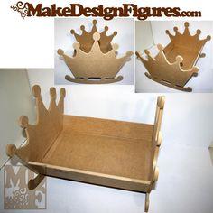 Berço de Embalar Coroa 45cm em MDF para pintar