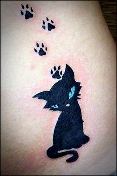 Here you will get 50 best small tattoo designs. Easy tattoo designs where you can find numerous styles and arts for neck, back, chest and hand tattoos. Body Art Tattoos, New Tattoos, Girl Tattoos, Print Tattoos, Cat Tattoo Designs, Small Tattoo Designs, Black Cat Tattoos, Animal Tattoos, Cat Paw Tattoos