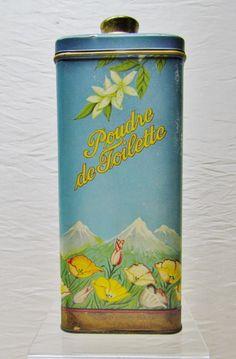 Vintage talcum powder tin  Poudre de Toilette