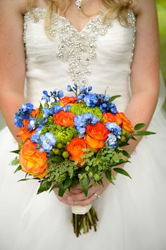 Celebrate With 42 Real Wedding Bouquets - The Westchester Wedding Planner Wedding Bouquets, Wedding Flowers, Orange Wedding Colors, Shades Of Blue, Orange Shades, Country Club Wedding, Flower Photos, Real Weddings, Wedding Planner