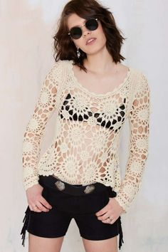 Salinas Crochet Sweater - Shirts + Blouses | Pullover | Clothes |