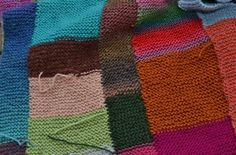 Leftover Yarn? Use it In a Simple Garter Stitch Strip Blanket: My Garter Stitch Scarp Afghan in progress.
