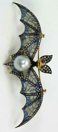 Art Nouveau bat brooch