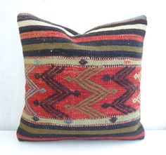 ***Free Shipping Worldwide*** Decorative pillow cover made with a vintage Turkish Hand woven Kilim rug. This pretty kilim throw pillow will add just the perfect touch to your decor!! The main colors a