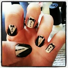 Suit and Tie Nail Art