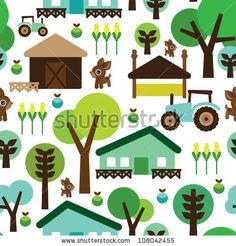 stock vector : Seamless farm animals country background pattern in vector