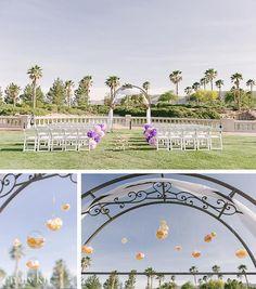 Purple and orange wedding at Siena Golf Club, hanging petals #EnchantedFloristLV