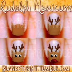 Very playful Christmas nails! You can do these Rudolph The Red Nose Reindeer nails yourself with this step by step instruction :)
