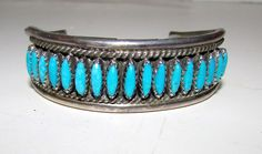 Old Pawn Native American Zuni Sterling Silver Turquoise Cuff Bracelet
