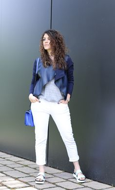 Navy Waterfall Jacket with Rolled White Denim and platform sandals