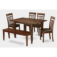 6-piece Dinette Kitchen Table and 4 Dining Chairs and Bench