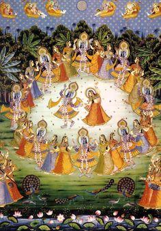 Krishna Collections - Indian Art - Radha and Krishna Dance with Gopis - Large Art Prints by Dheeraj Radha Krishna Images, Lord Krishna Images, Krishna Art, Radhe Krishna, Shree Krishna, Hanuman, Pichwai Paintings, Indian Art Paintings, Tanjore Painting