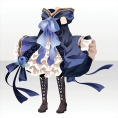 上半身/インナー 薔薇の魔女ワンピBブルー Dress Drawing, Drawing Clothes, Fashion Art, Girl Fashion, Fashion Design, Anime Outfits, Cool Outfits, Anime Dress, Cocoppa Play