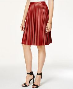 RUST-COLORED PIECES TO BUY FOR FALL --- Bar III Pleated Faux-Leather Skirt in Rust