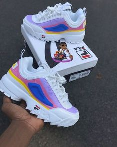 Image of Pastel Fila Disruptors Girls Sneakers, Sneakers Fashion, Fashion Shoes, Shoes Sneakers, Jordan Shoes Girls, Girls Shoes, Fila Outfit, Basket Style, Nike Shoes Air Force
