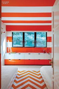 Kids orange & white striped bedroom | Chet Callahan & Ghislaine Viñas Interior Design