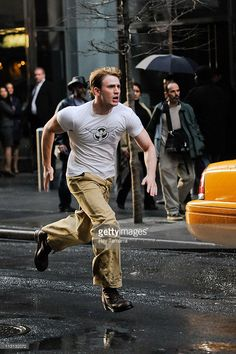 Actor Chris Evans films a scene from 'Captain America: The First Avenger' movie set in Times Square on April 23, 2011 in New York City.