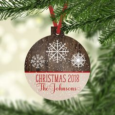 Personalize Christmas Tree Ornaments Custom Text Photo Logo #ROUND PORCELAIN
