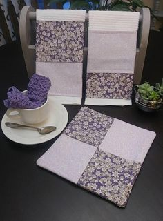 Towels are bar mop towels with cotton material added to give your kitchen a little color. They are 16.5×18.5 inches. Hot pad is cotton and filled with insul-bright to protect your hands and countertops from the heat. It is 9×8.5 inches. To complete the set we added a crochet