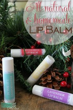 """Using just three simple ingredients and a couple of minutes of your time, you can have homemade, all-natural lip balms to give away as gifts or keep for yourself. LOVE these as stocking stuffers or a gift anytime """"just because.""""   TheTurquoiseHome.com"""