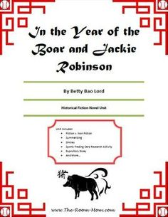 In the Year of the Boar and Jackie Robinson Novel Unit-- a great grade historical fiction novel unit. Love the compare/contrast Shirley Temple Wong to Jackie Robinson Reading Library, Reading Workshop, Reading Skills, Year Of The Boar, School Fun, School Stuff, School Ideas, Historical Fiction Novels, 4th Grade Reading